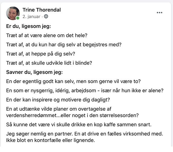 Trines opslag på Facebook